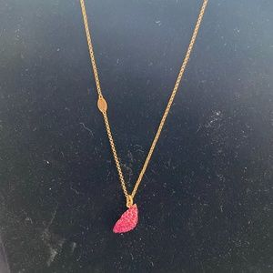Juicy Couture red rhinestone lip necklace
